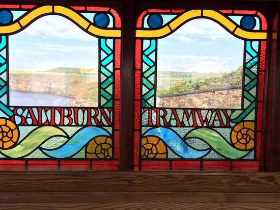 Saltburn Cliff Lift: Interior window ( with bonus view!)