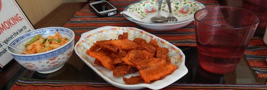 9'INE Native Cuisine: Dry Fried Pork with Traditional Salad
