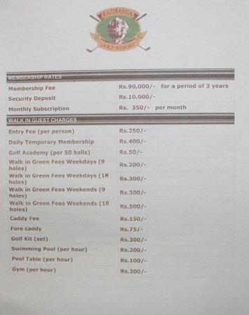 Kaziranga Golf Resort : from Notice board