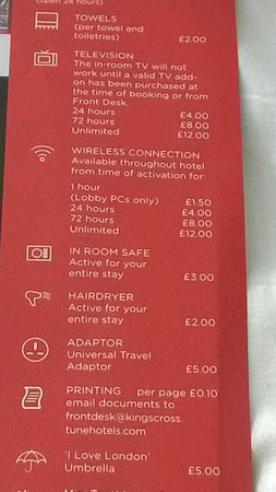 Point A Hotel, London Kings Cross St Pancras: extra's price list