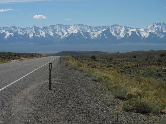 Loneliest Highway in America (Hwy. 50): Snow peaked mountains in the distance