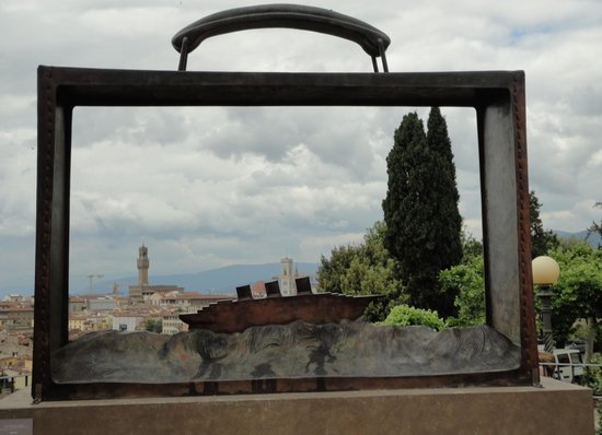 Basilica San Miniato al Monte : A sculpture in the rose garden on the way to the basilica.  Perfect frame for Florence