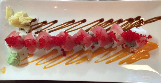 Legal C Bar: Red Dragon Roll-spicy tuna topped with tuna, wasabi mayo