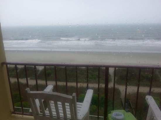Gazebo Inn Ocean Front: View from our balcony the first day.  It was a little rainy.