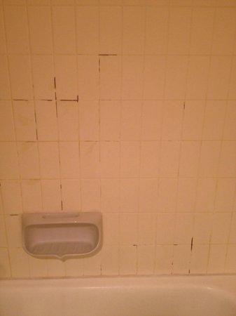 Sheraton Brussels Hotel: Painted and peeling bathroom tiles