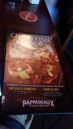 Pappadeaux Seafood Kitchen: Menu cover