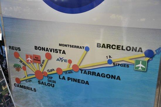 Palas Pineda: Расположение Ла Пинеды и ближайшие города