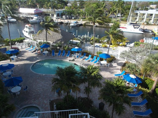 Courtyard Key Largo: View of the pool and marina during scuba lesson.
