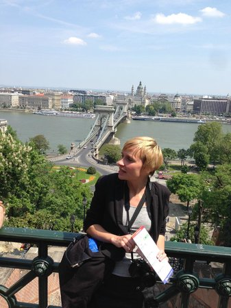 Free Budapest Walking Tours: Orsi from a prime Cable Bridge vista point in Buda