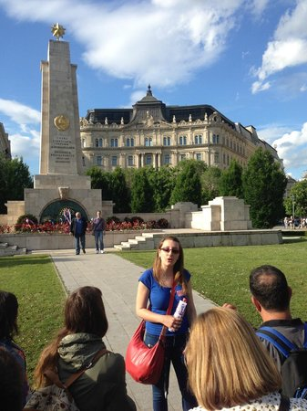 Free Budapest Walking Tours: Anita at the Soviet obelisk monument located in Liberty Square