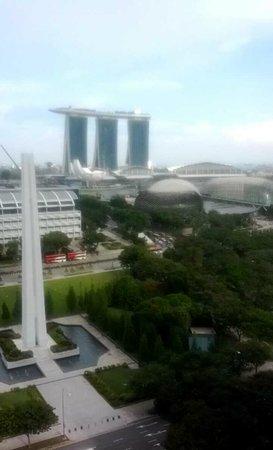 Fairmont Singapore: View towards the Marina bay sands hotel.