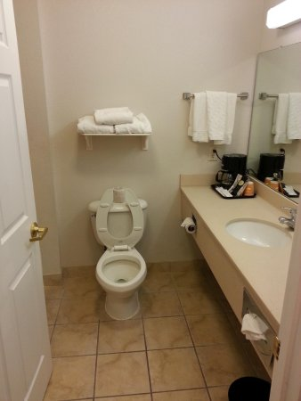 La Quinta Inn & Suites Lubbock North: Very clean bathroom with lotion, soap, shampoo, coffee, cups & fresh towles