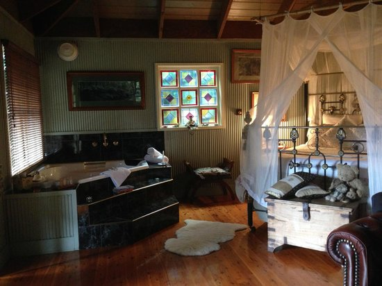 Observatory Cottages: A snapshot of our room - kitchen and fireplace behind me