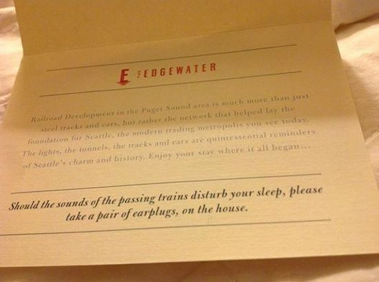 The Edgewater, A Noble House Hotel: At least the ear plugs are on the house