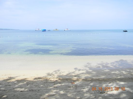 Hedonism II: white sand and blue water