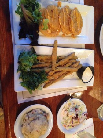 Shrimp Factory : The vegetarian option which was simply awesome- fried green tomatoes, asparagus with horseradish