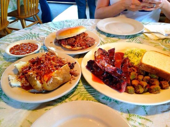 Hickory Pit Bar-B-Que: Lg chopped BBQ sandwich, BBQ baked beans, BBQ stuffed baked potato and Lg rib plate w/ fried okr