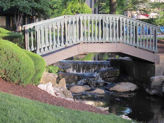 Sheraton Westport Chalet Hotel St. Louis: Bridge, Waterfall and Stream