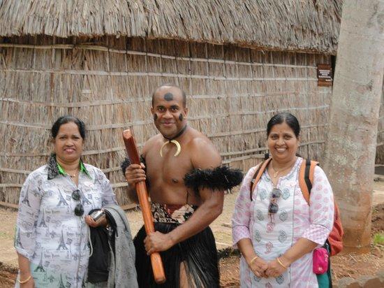 Polynesian Cultural Center: with a warrior