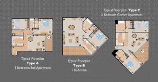 Astor Apartments Brisbane : Room layouts