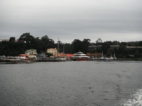Strahan Village: View form the bay back to the apartments