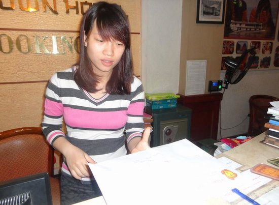 Hanoi Old Town: Anna Working on Reception Area