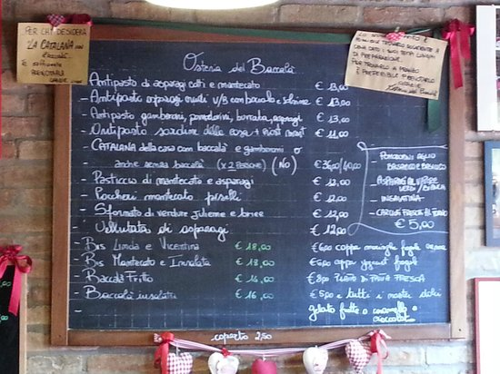 Stra, Italie : menù
