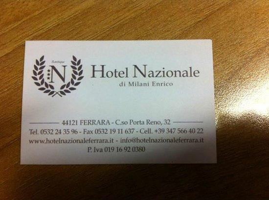 Hotel Nazionale: Biglietto da visita