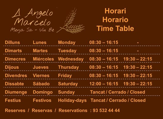 A Angelo Marcelo: Summer Time Table