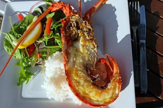 Kaikoura Seafood BBQ: Crayfish in the sun