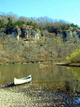 Rock Eddy Bluff Farm: Rock Eddy Bluff from the river