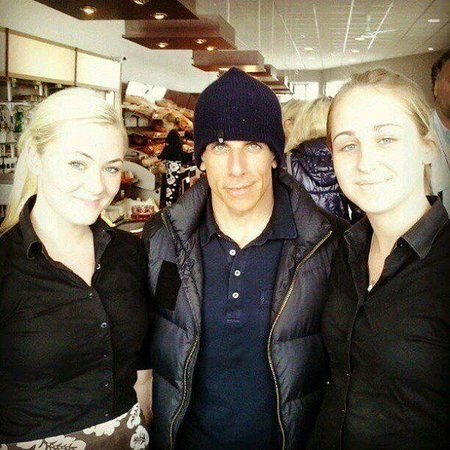 Geirabakarí Kaffihús: Two of our staff pose with Ben Stiller, who visited the bakery a lot in the summer of 2012.