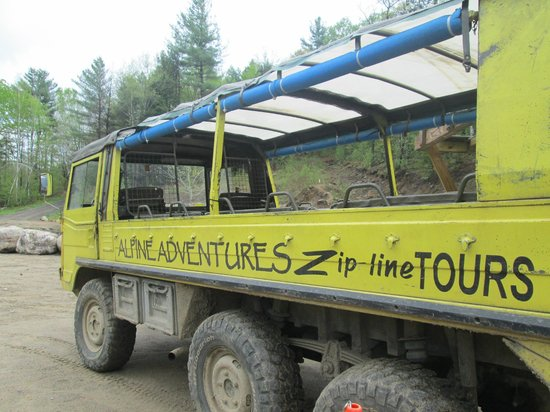 Alpine Adventures Outdoor Recreation: Pinzgauer brings you to the zip line start -- the ride in this is a little adventure in itself.