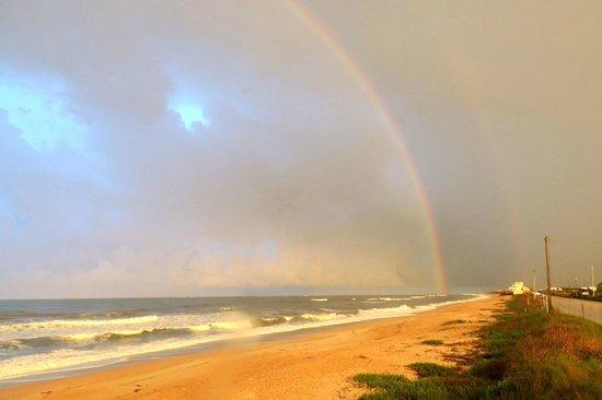 Ocean Sands Beach Inn: Double Rainbow after an afternoon storm - May 15, 2014