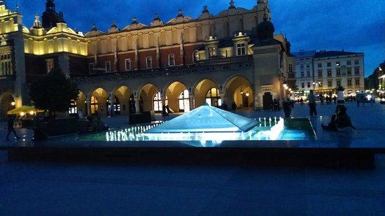 Tuchhallen (Sukiennice): Fountain outside
