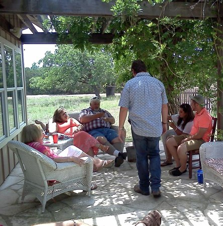 Roddy Tree Ranch: Gathering on the patio.