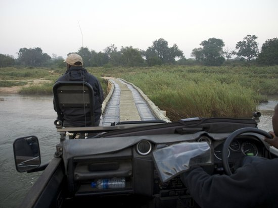 Lion Sands River Lodge: Tracker on vehicle as we cross Sabi River