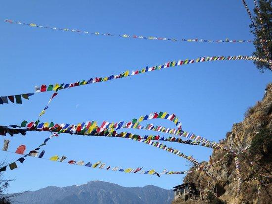 Taktsang Palphug Monastery: bandeiras de oração