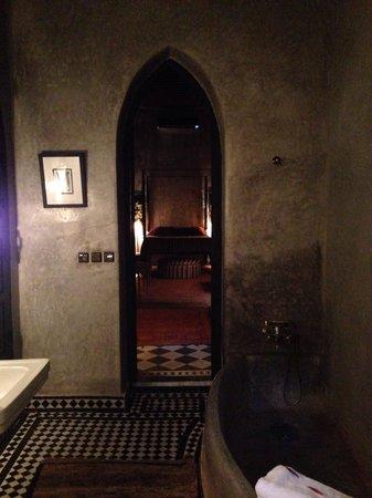 Riad Dar Darma: From my bathroom into the 30' long bedroom