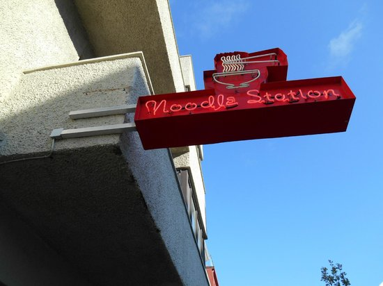 Noodle Station: Outside sign for the restaurant