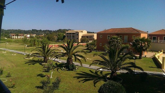 Christina Apartments: View from balcony of main grounds.