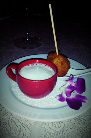 Chef Daniel's Gastro Bar Phuket: lobster capucino with tiget prawn tempura lollipop.