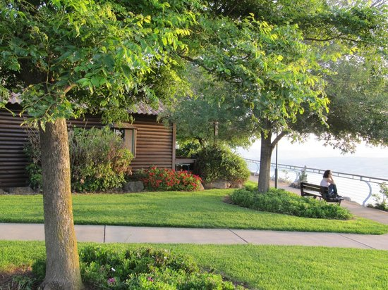 Peace Vista Country Lodge (Mitzpe Hashalom): The garden with benches overlooking the lake