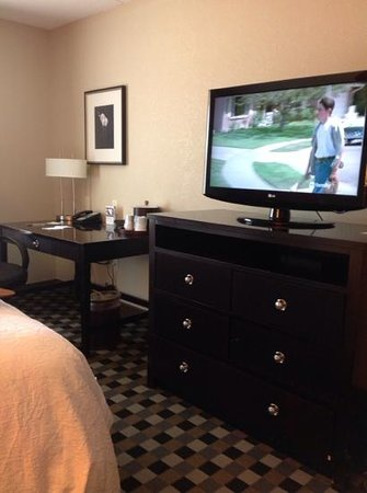 Hampton Inn & Suites Houston-Bush Intercontinental Airport : desk and tv