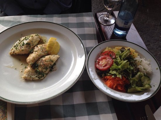 "Gasthaus Zum Suenfzen : ""White fish fillet,fried"" with salad"