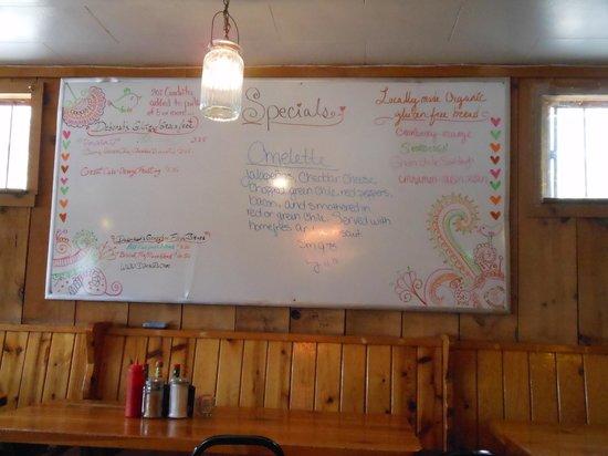 Taos Diner: Specials board