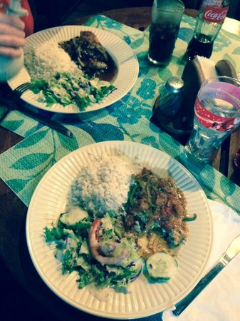 Dawn's Grill: creole fish and grilled chciken both with coconut rice