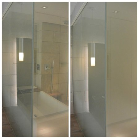 Mamilla Hotel : Liquid-crystal bathroom walls in off and on settings
