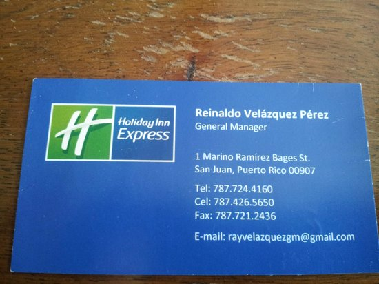 Gms business card on back is where he wrote the comp night and holiday inn express san juan condado gms business card on back is where he reheart Gallery