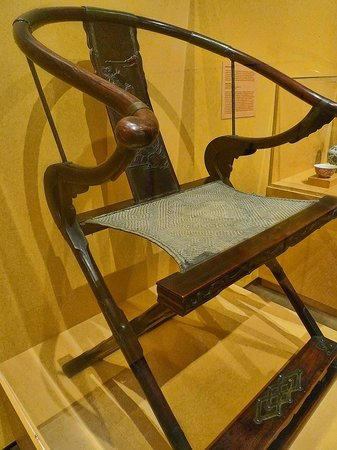Pacific Asia Museum: Rare Late Ming Dynasty folding horseshoe chair (14th-17th centuries CE) Huanghuali wood